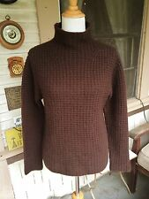 WENDY B CHOCOLATE BROWN THICK 100% CASHMERE FUNNEL NECK TURTLENECK SWEATER M