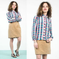 WOMENS VINTAGE 70'S STYLE CHECK PLAID SHIRT BLOUSE OVERSIZE HIPPIE RETRO 12
