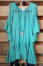 BOHO GYPSY CHARM DRESS IN TURQUOISE TUNIC LOOSE FITTING OFF-SHOULDER LONG TOP-XL