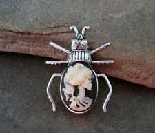 Handmade Day Of The Dead Lady Lolita Cameo Beetle Brooch Pin