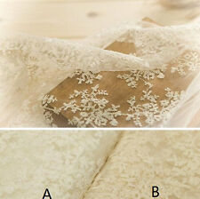 Ivory Lace Fabric Floral Cotton Embroidered Tulle Fabric Wedding Dress Bridal