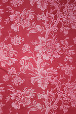 Antique French printed curtain c 1880's  lovely red + pink floral pattern cloth