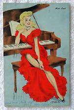 1944 PIN UP POSTCARD MISS LEAD LADY RED DRESS & PIANO #19