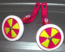 "Bicycle Training Wheels For 16"" Bikes - Pink & Yellow Wheels NEW!"