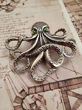 STEAMPUNK JEWELLERY.OCTOPUS  BROOCH ANTIQUE SILVER