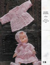 "#135 DK/4ply Doll Premature Baby Girl 20"" or 16"" Lacy Outfit  Knitting Pattern"