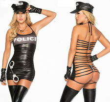 Ladies Police Cop Officer Costume Policewoman Cosplay Fancy Dress Uniform 8-10