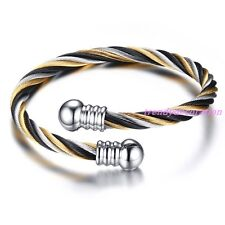Fashion Women Men's Silver Gold Black Twisted Cable Wire Stainless Steel Bangle