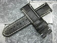New 24mm Black Deployment Alligator Grain Leather Watch Strap Band PAM 24 mm