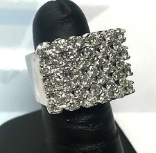 Chunky Ornate 14K White Gold 2.73 CT CT Diamond Row Cluster Square Ring Sz 5.25