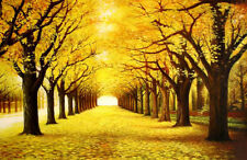 Beautiful Oil painting autumn season landscape with yellow trees forest canvas