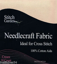 Stitch Garden 18 Count Aida For Cross Stitch  Cream