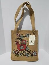 PrAna Blossom Bird Yoga Burlap Canvas Accessory Collection Tote Beach Bag NWT