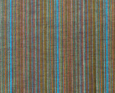 """Brown Blue Striped Hand Spun & Hand Woven Cotton Khadi Fabric 34"""" wide Two Yards"""