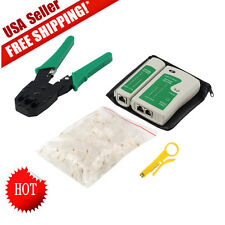 Cable Tester +Crimp Crimper +100 RJ45 CAT5 CAT5e Connector Plug Network Tool NEW
