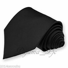 New Men's Solid Classic BLACK Self Tie Neck Tie Prom Formal Party Wedding