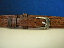 Vintage Leegin Silver Creek Brown Leather Ranger Belt 34