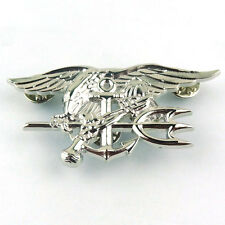 MILITARY US NAVY SEAL EAGLE ANCHOR TRIDENT METAL BADGE PIN INSIGNIA SILVER-68053