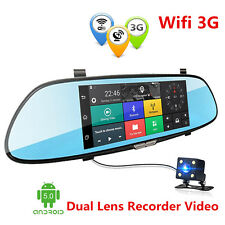 "3G 1080P 7"" Android Car Video Recorder WIFI Dual Lens Rearview Mirror Dash Cam"