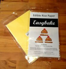 Easybake Edible YELLOW  Rice Paper - 12 Large Sheets 28cm x 18cm - Sealed Pack
