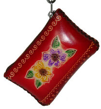 Leather Change Purse,rectangle shape,Hawaii Flower and butterfly Embossed, Red