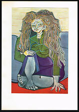 1950's Old VINTAGE Abstract Old Woman Lady PICASSO Art Offset Lithograph PRINT