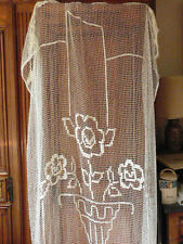 RIDEAU TENTURE ANCIEN FILET COTON ART DECO ART NOUVEAU LINGE ANCIEN OLD FABRIC