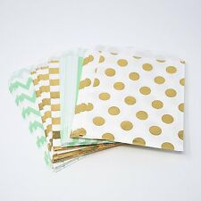 48 Polka Dot Chevron Stripe Mint and Gold Food Candy Treat Party Favor Bags 5x7