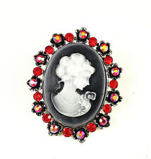 Antique Silver Gray Cameo with Red Crystal Rhinestone Brooch Lapel Pin & Pendant