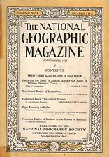 1924 National Geographic November -Yunnan China;Tiger hunting in India;Luxemburg
