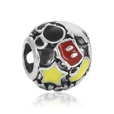 Preety 925 Silver Yellow Red Paint Interval Charms Bead For Sterling Bracelet