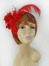 RED FEATHER PLUME ROSE HAIR CLIP FASCINATOR FOR THE RED HAT LADY OF THE SOCIETY