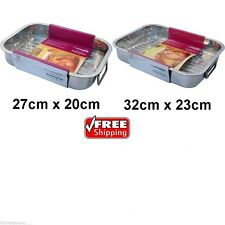 NEW 2PC SET STAINLESS STEEL ROASTING TRAY OVEN BAKING ROASTER TIN GRILL RACK