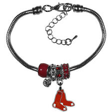 MLB Boston Red Sox Euro Bead Bracelet Gameday Charms Jewelry Snake Chain