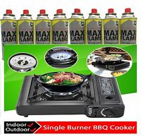 NEW PORTABLE SINGLE STOVE COOKER CAMPING OUTDOOR COOKING BBQ PARTY + BUTANE