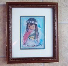 """DEGRAZIA """"GIRL WITH YELLOW BOWL"""" FRAMED DOUBLE MATTED PRINT VINTAGE"""