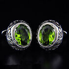 Green Crystal silver Round Mens Wedding Party Gift shirt Cuff links cufflinks