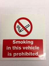 6 x No smoking in this vehicle sign 100x100mm Vinyl