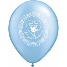 """**QUALATEX**  Pack of 12 - 11"""" Round Blue Christening Dove Latex Balloons!"""
