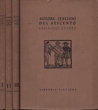 Autori italiani del Seicento. 4 voll. Autori vari. Libreria Vinciana. SLB24