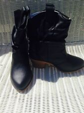 Ladies Black Slouch Faux Leather Pull on Boots Size 9 NWT FREE SHIPPING (USA)