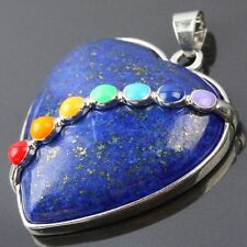 7 Bead Chakra Lapis Lazuli Stone Heart LOVE Gemstone Charms Pendant Fit Necklace