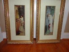 """HOME DECOR ART PRINT WOMEN GARDEN GOLDEN WOODEN SET OF 2 PICTURE FRAME 28"""" X 16"""""""