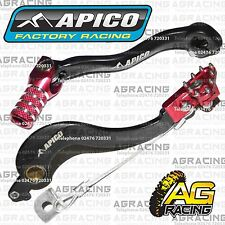 Apico Black Red Rear Brake & Gear Pedal Lever For Honda CRF 250R 2007 Motocross