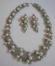 Dazzling Necklace Sparkling Rhinestones Faux Pearl Bib and Long Dangly Earrings