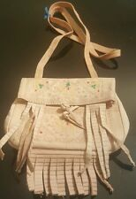 Moroccan leather purse/bag/coin purse with strap BEIGE ( design 1) medium
