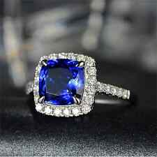 SOLID 14K WHITE GOLD NATURAL 2.5ct AAAA VVS TANZANITE DIAMOND ENGAGEMENT RING