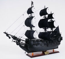 "Black Pearl Caribbean Pirate Tall Ship 35"" Built Wooden Model Boat Assembled"