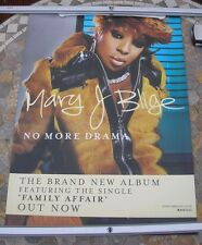 MARY J BLIGE No More Drama 2001 promo poster 28 x 19  original