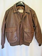 Eddie Bauer LEGEND mens brown leather goose lined bomber A 1 style jacket sz S